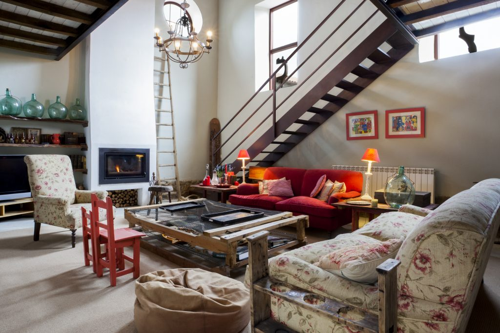 Sala de estar en la casa rural La Madrigata