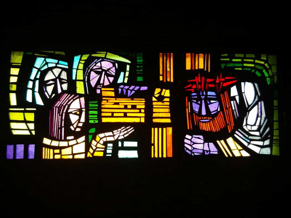 Jesús consuela a las mujeres de Jerusalén - VIII (vidriera de Rectivía, Astorga)
