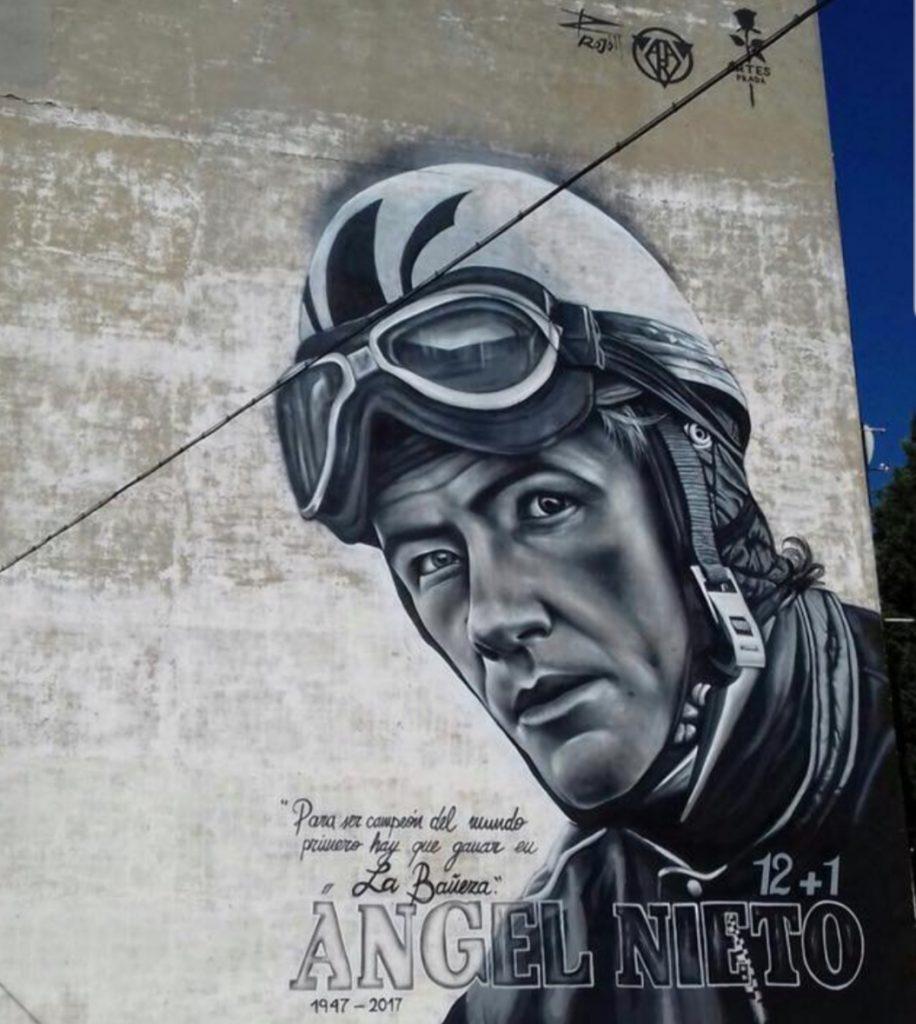Grafiti de Ángel Nieto en la Bañeza, obra de Toño Prada y Jorge Gordillo (el rojo)